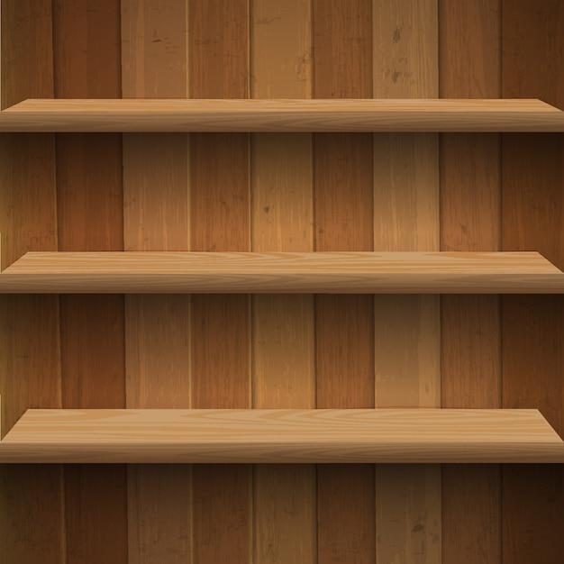 Sfondo di scaffali in legno