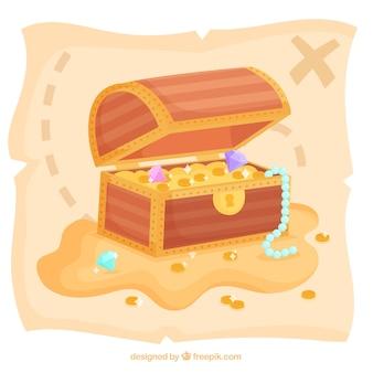 Sfondo di scatola del tesoro con oro e diamanti