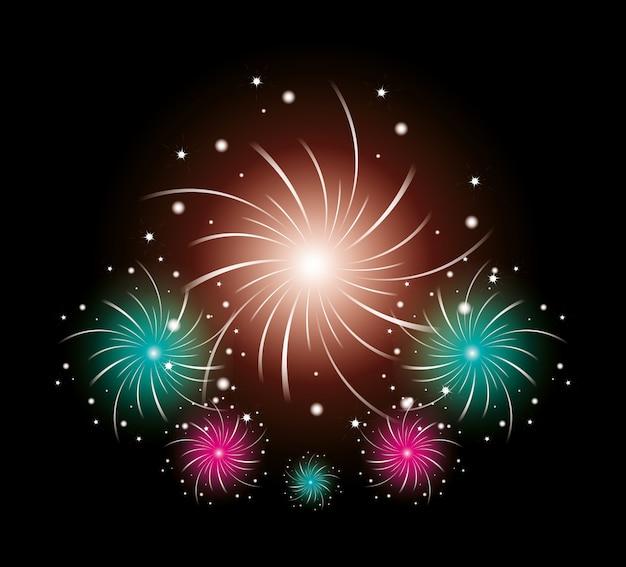 Sfondo di scena celebrazione fuochi d'artificio