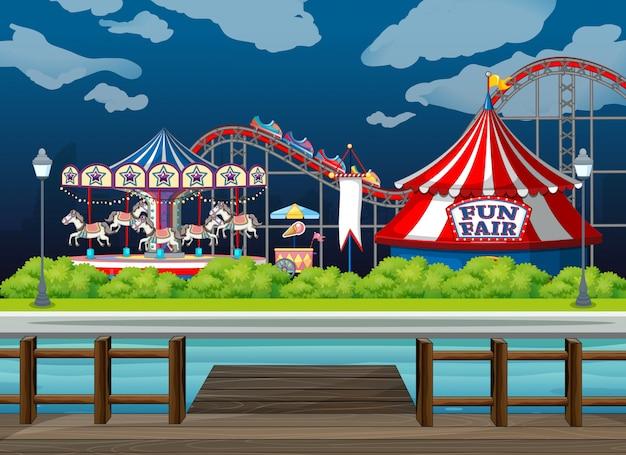 Sfondo di scena con giostre al circo