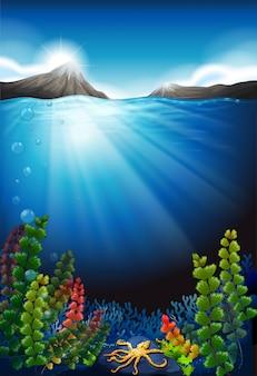 Sfondo di scena con sott'acqua e montagne