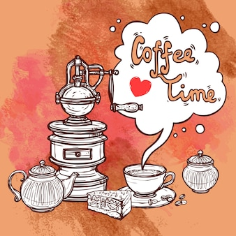 Sfondo di schizzo di caffè