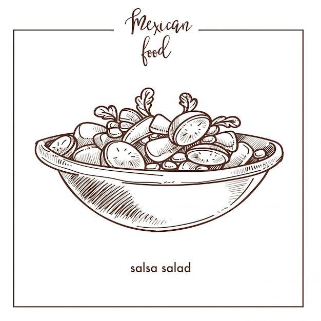 Sfondo di schizzo di insalata di salsa