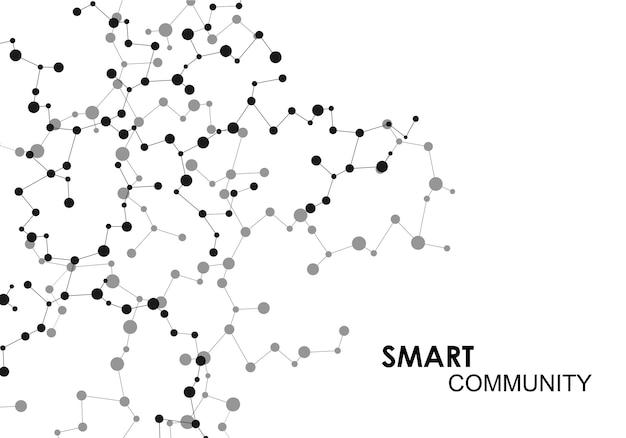 Sfondo di scienza e tecnologia con punti e linee di collegamento astratti