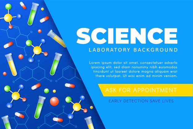 Sfondo di scienza realistica con molecole e pillole