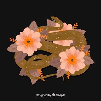 Sfondo di serpenti disegnati a mano scura