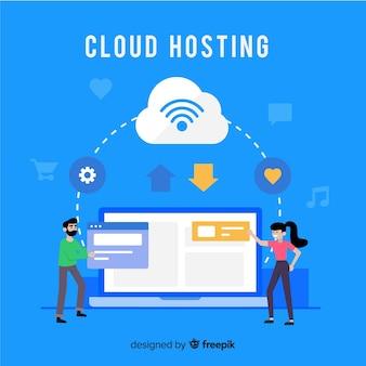 Sfondo di servizi di hosting cloud