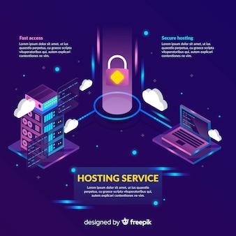 Sfondo di servizi di hosting lucchetto