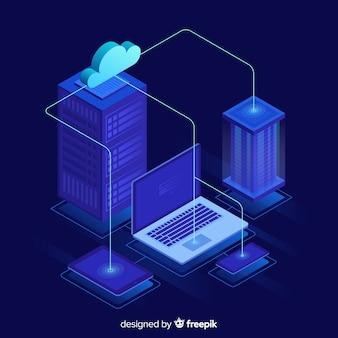 Sfondo di servizio di hosting isometrica