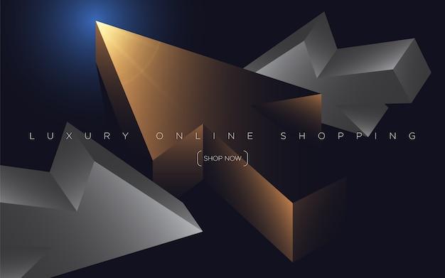Sfondo di shopping online premium nero con frecce di cursore web scuro di lusso. sfondo ricco per la tua esclusiva.