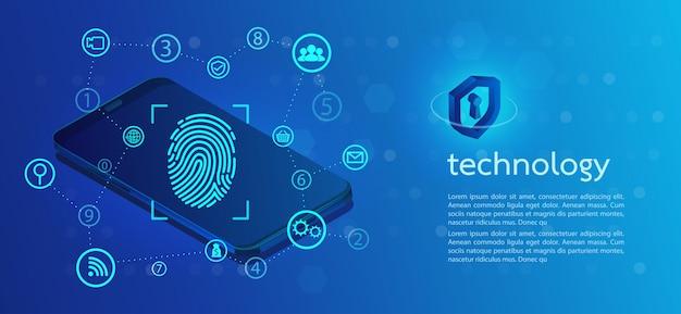 Sfondo di sicurezza con blocco scansione con impronta digitale.
