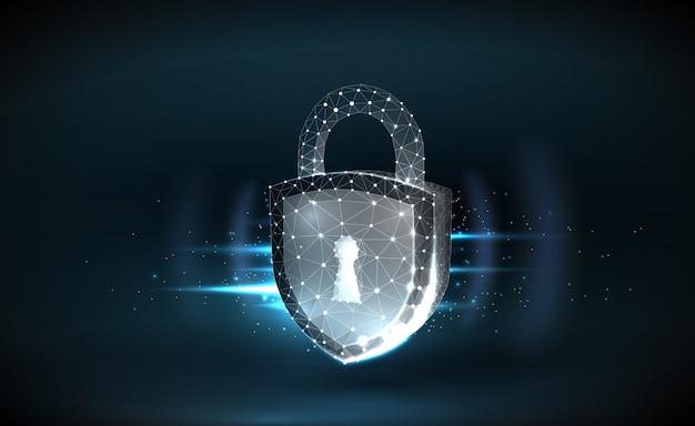 Sfondo di sicurezza informatica con blocco wireframe