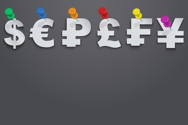 Sfondo di simboli di valuta appuntato puntina da disegno