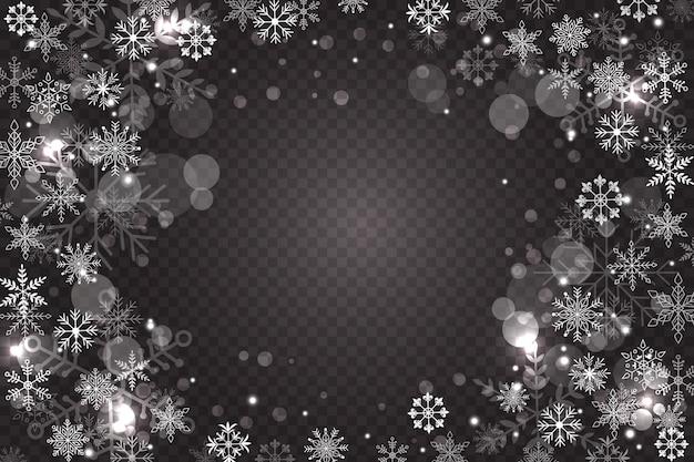 Sfondo di sovrapposizione di fiocchi di neve