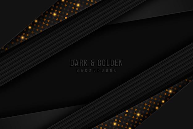 Sfondo di strati di carta scura con dettagli in oro