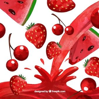 Sfondo di succo con anguria, ciliegia e fragola in stile acquerello