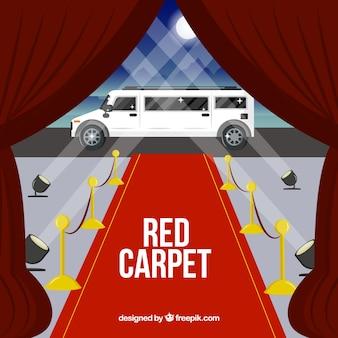 Sfondo di tappeto rosso in stile piatto