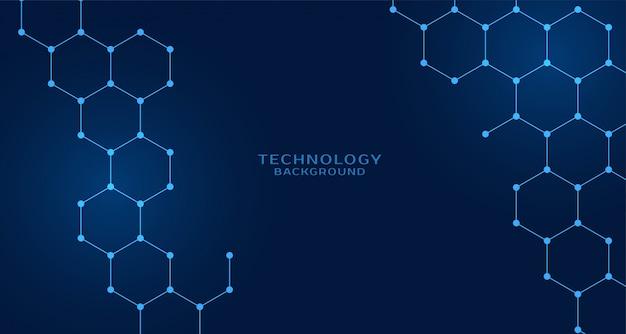 Sfondo di tecnologia a forma esagonale