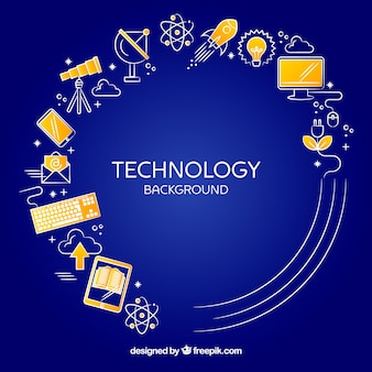 Sfondo di tecnologia con dispositivi in stile piano