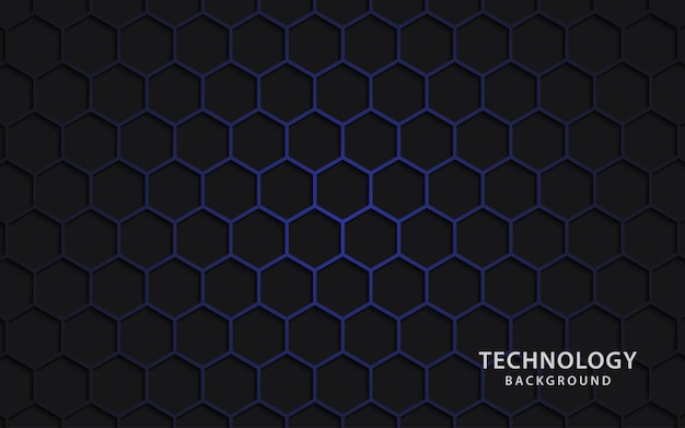 Sfondo di tecnologia con forme esagonali.