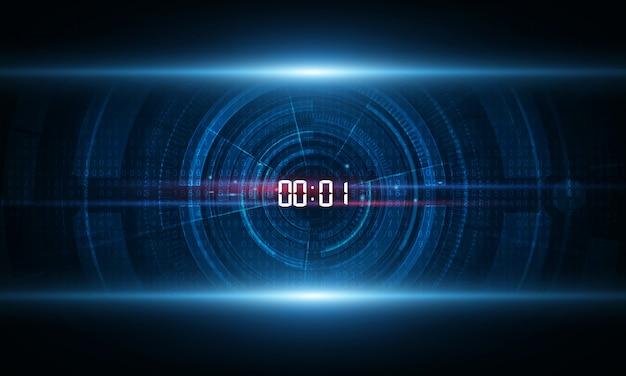 Sfondo di tecnologia con il concetto di timer numero digitale e il conto alla rovescia