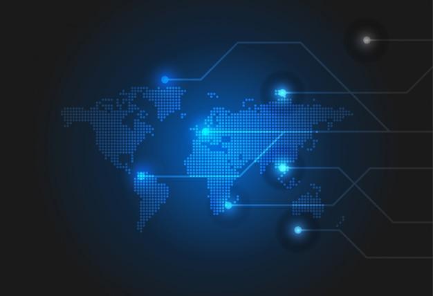 Sfondo di tecnologia con mappa del mondo tratteggiata