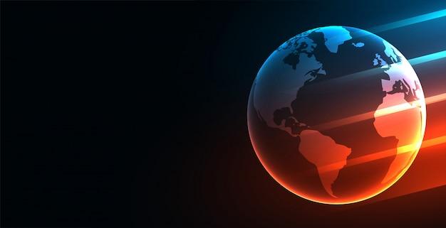 Sfondo di tecnologia digitale futuristica della terra con luci incandescenti