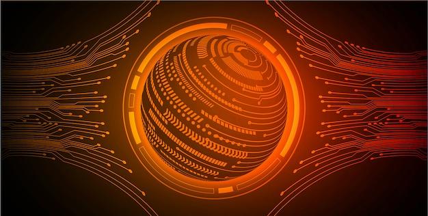 Sfondo di tecnologia futura circuito cyber mondo arancione