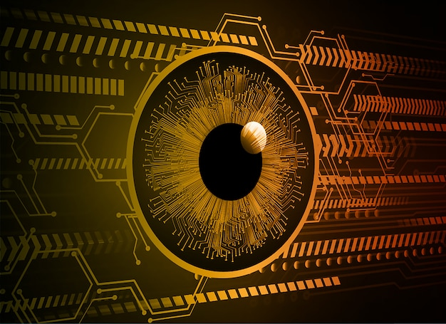 Sfondo di tecnologia futura circuito cyber occhio arancione