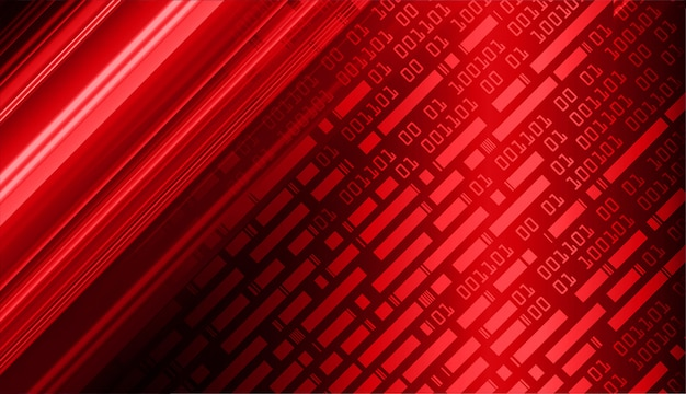 Sfondo di tecnologia futuro binario binario rosso