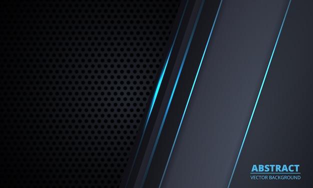 Sfondo di tecnologia in fibra di carbonio grigio scuro con linee luminose blu e luci.