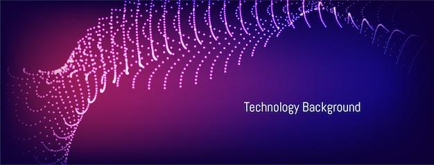 Sfondo di tecnologia moderna particelle ondulate punteggiato