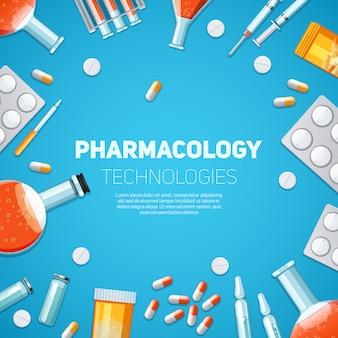 Sfondo di tecnologie di farmacologia