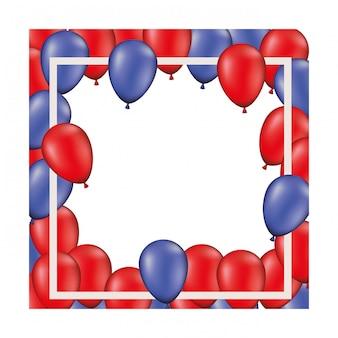 Sfondo di telaio con palloncini rossi e blu isolato