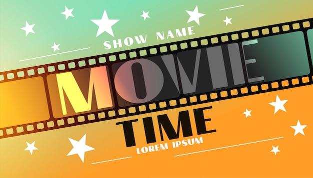 Sfondo di tempo di film con striscia di pellicola e stelle