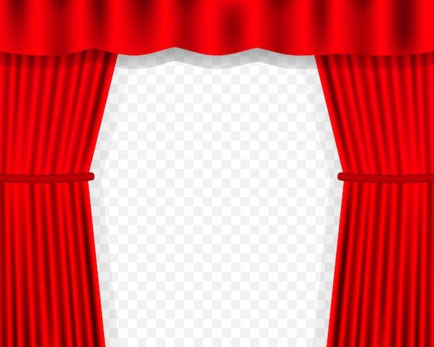 Sfondo di tende di intrattenimento per film. il bello teatro rosso ha piegato le tende sulla tenda sul palco nero