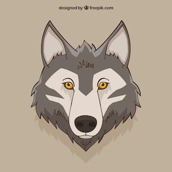 Sfondo di testa di lupo disegnato a mano