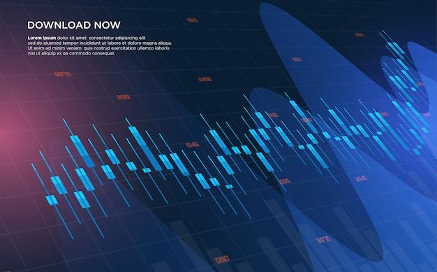 Sfondo di trading con illustrazioni di grafici a barre sempre più ascendenti.