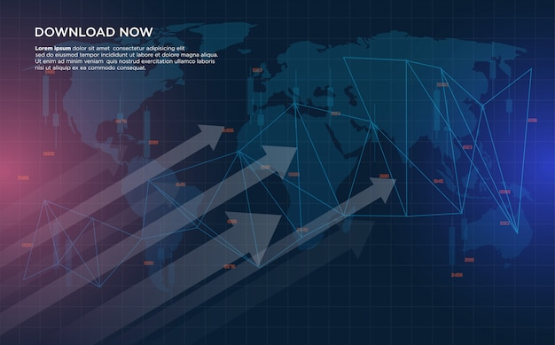 Sfondo di trading con illustrazioni di grafici di trading di borsa che stanno crescendo sempre più da sinistra a destra.