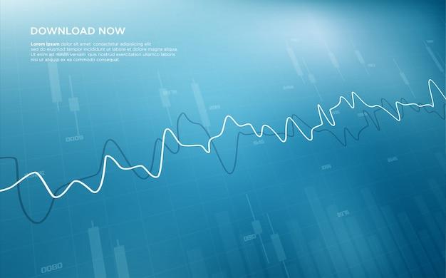 Sfondo di trading con illustrazioni grafiche curve come la frequenza cardiaca dalla parte anteriore.