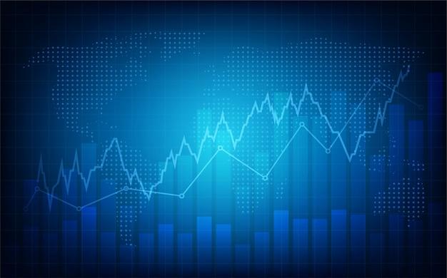 Sfondo di trading. con un'illustrazione grafica di una frequenza cardiaca blu che sta aumentando verso l'alto.