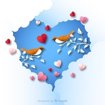 Sfondo di uccelli san valentino