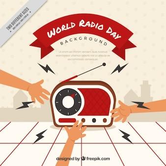 Sfondo di una radio con le mani