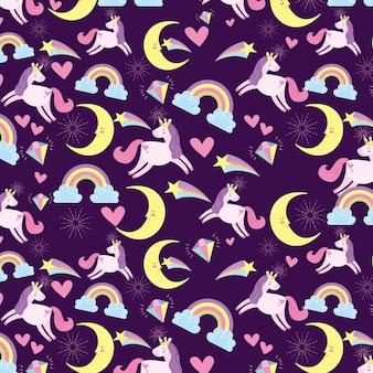 Sfondo di unicorni e lune