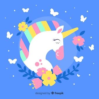 Sfondo di unicorno carino design piatto