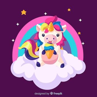 Sfondo di unicorno carino disegnato a mano