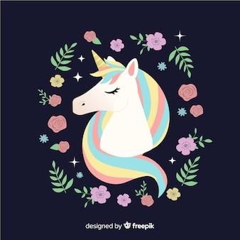 Sfondo di unicorno carino floreale piatta