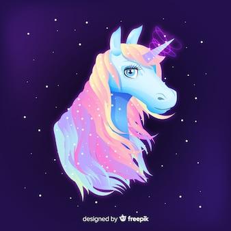 Sfondo di unicorno disegnato a mano
