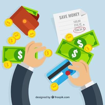 Sfondo di uomo d'affari con banconote e carta di credito