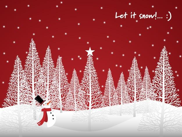 Sfondo di vacanze natalizie con let it snow! testo.